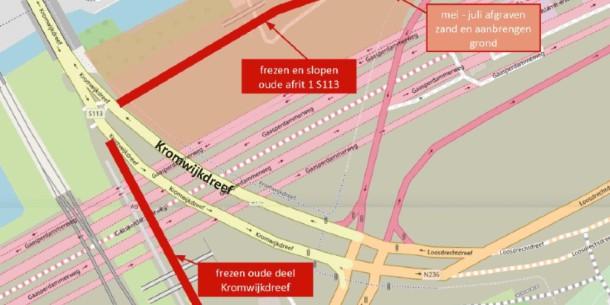 Werkzaamheden Kromwijkdreef en afrit S113